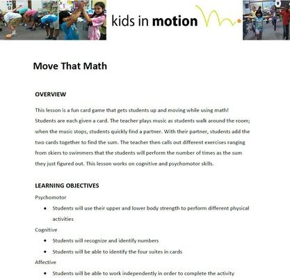 Move That Math Lesson Plan