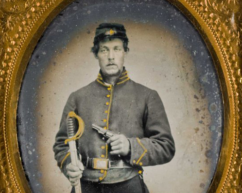 Confederate cavalryman with Colt root pistol