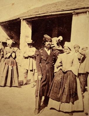 A Crimean War nurse walking a blinded patient