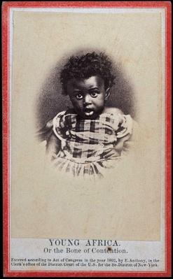"""Young Africa or The Bone of Contention"" cartes de visite photograph issued in 1862 during abolitionist controversy"