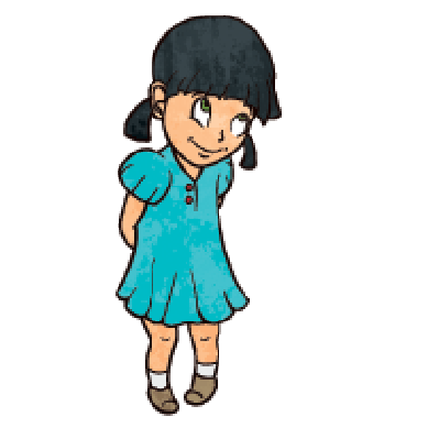 Cartoon Illustration: Cute Shy Cheerful Little Girl in Blue Dress | Clipart