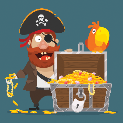 Character Pirate Chest of Gold and Parrot | Clipart