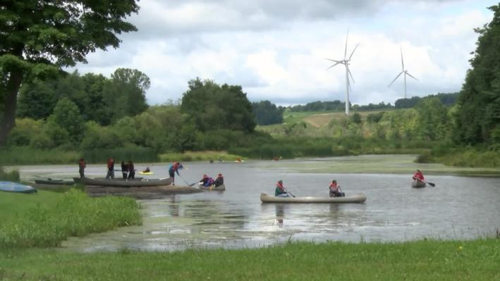 Camp Eagr with people canoeing