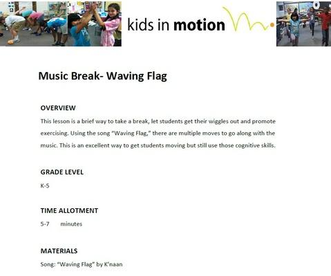 Music Break- Waving Flag Lesson Plan