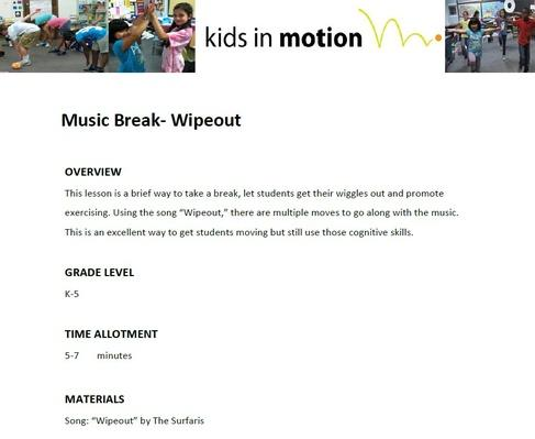 Music Break- Wipeout Lesson Plan