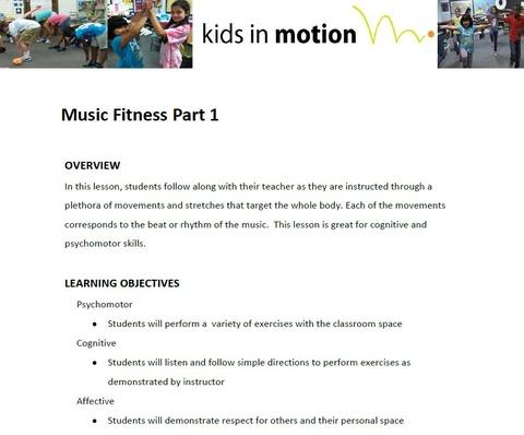Music Fitness Part 1 Lesson Plan