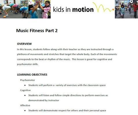 Music Fitness Part 2 Lesson Plan