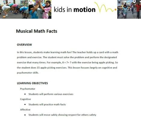 Musical Math Facts Lesson Plan