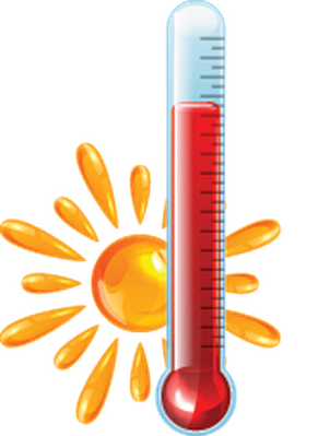 Red and Blue Thermometers   Clipart