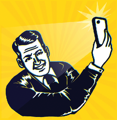 Vintage Retro Clipart: Man Takes a Selfie With Smartphone Camera | Clipart