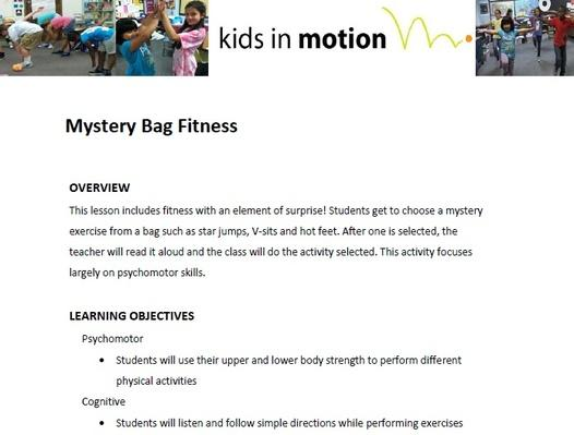 Mystery Bag Fitness Lesson Plan