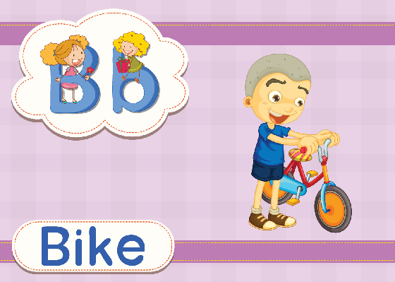 Vocabulary Cards - B for Bike | Clipart