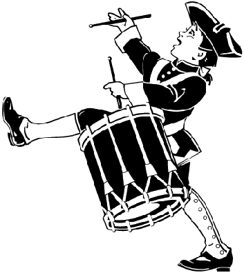 Boy, Playing Drum, Wearing Revolutionary War Attire | Clipart
