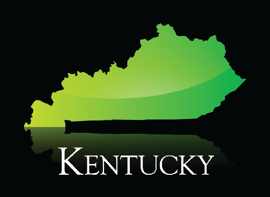 Kentucky Green Shiny Map | Clipart