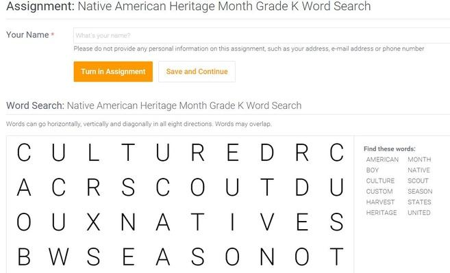 Native American Heritage Month | Grade K Word Search