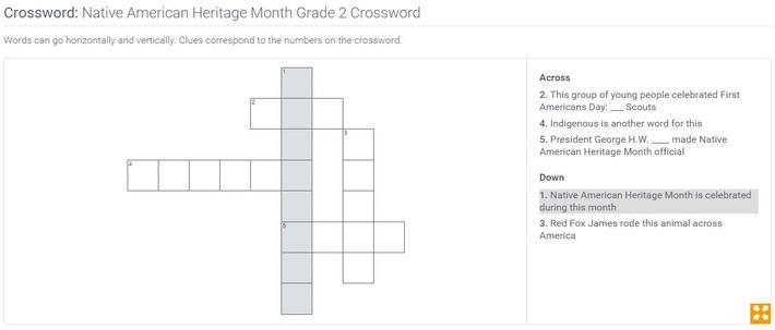 Native American Heritage Month | Grade 2 Crossword
