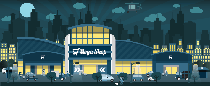 Cities - Shopping at Night | Clipart