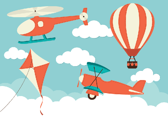 Helicopter, Plane, Kite and Hot Air Balloon | Clipart