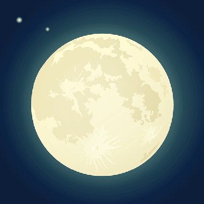 Full Moon on a Dark Blue Sky | Clipart