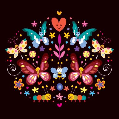 Butterflies, Flowers Nature  Illustration | Clipart