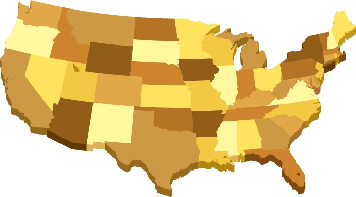 USA D Map With States In Different Brown Colors Clipart The - Us map 3d