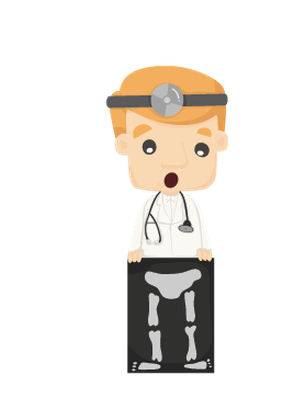 Set of Doctor Characters with X-Ray, Ultrasound | Clipart