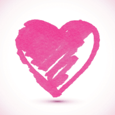 Pink Isolated Marker-Painted Textured Heart | Clipart