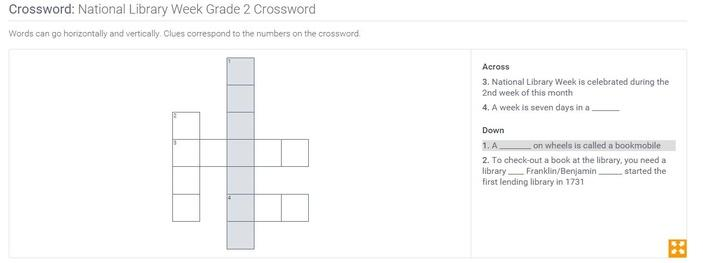 National Library Week | Grade 2 Crossword