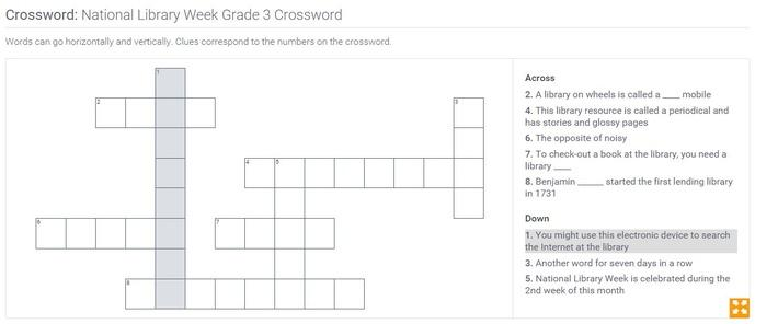 National Library Week | Grade 3 Crossword