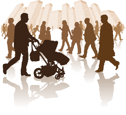Cities - Walking in the City | Clipart