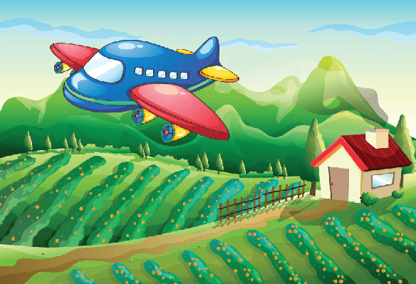 Airplane Above The Farm with A House | Clipart