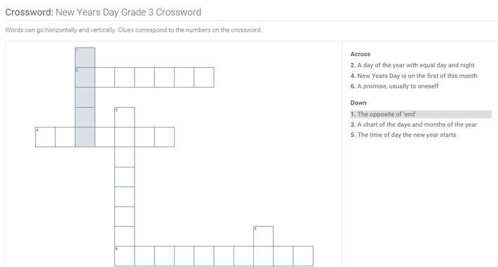 New Years Day | Grade 3 Crossword