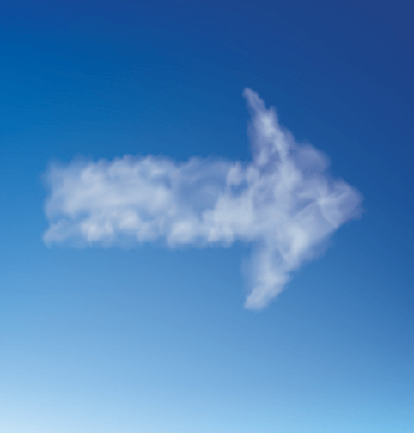 Arrow of Clouds on a Blue Sky | Clipart