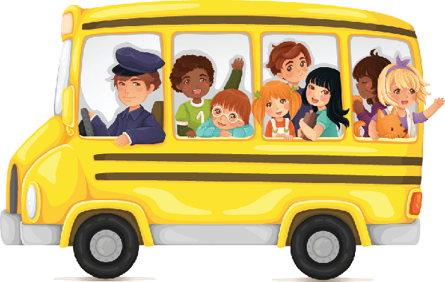 Yellow School Bus Full of Cute and Happy Kids | Clipart