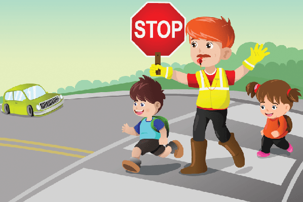 Flagger and Kids Crossing the Street | Clipart