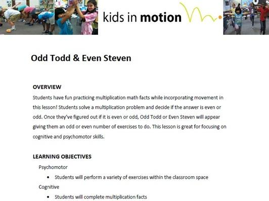 Odd Todd & Even Steven Lesson Plan