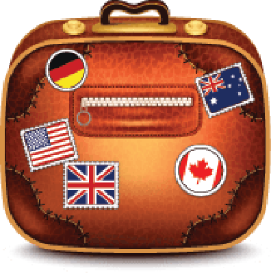 Suitcase With Stamps | Clipart