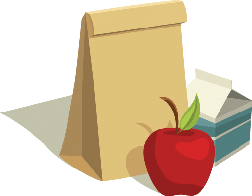 Sack Lunch With Apple and Milk Carton | Clipart