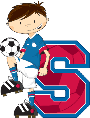 Soccer Football Boy Learning Letter S | Clipart