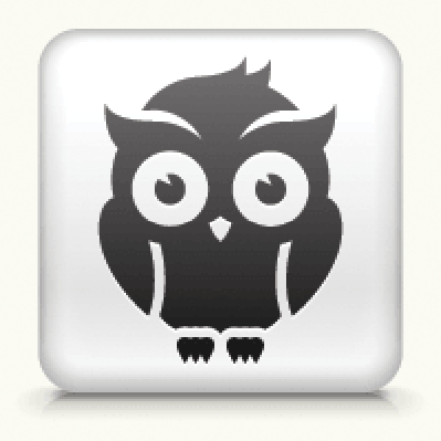 White Square Button With Night Owl Icon | Clipart