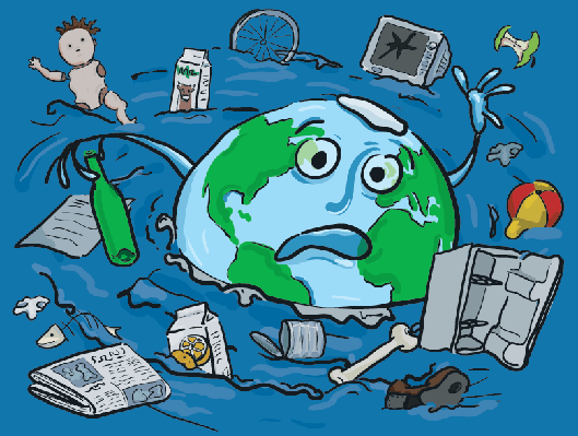The Earth Drowning in Rubbish | Clipart