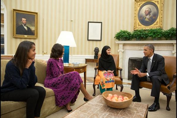 The Obamas meet Malala Yousafzai