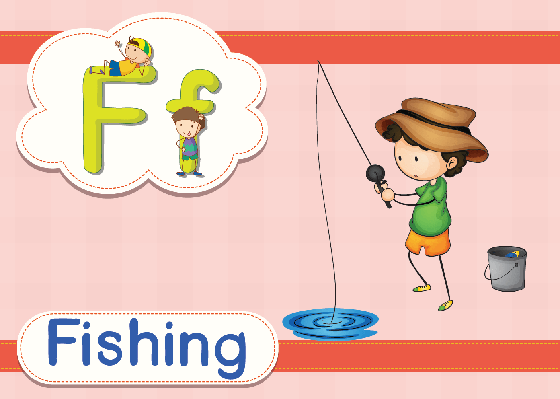Vocabulary Cards - F for Fishing | Clipart