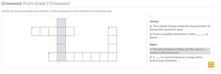 Purim | Grade 2 Crossword