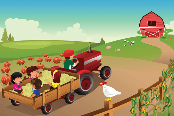 Four Seasons Scenery - Autumn Hayride | Clipart