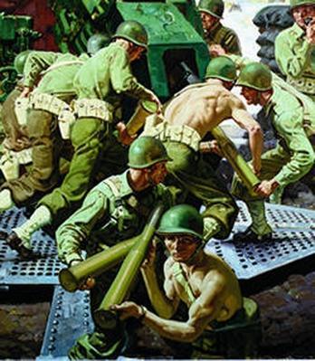 They Drew Fire | Combat Artists of World War II: Anzio Harbor Under Bombardment