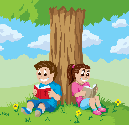 Kids Reading Under A Tree | Clipart