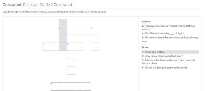 Passover | Grade 2 Crossword
