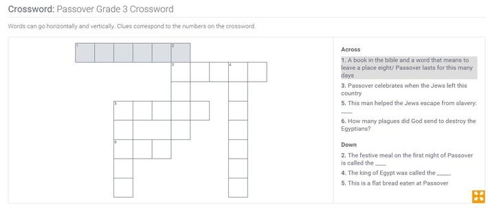Passover | Grade 3 Crossword