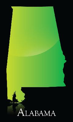Alabama green shiny map | Clipart